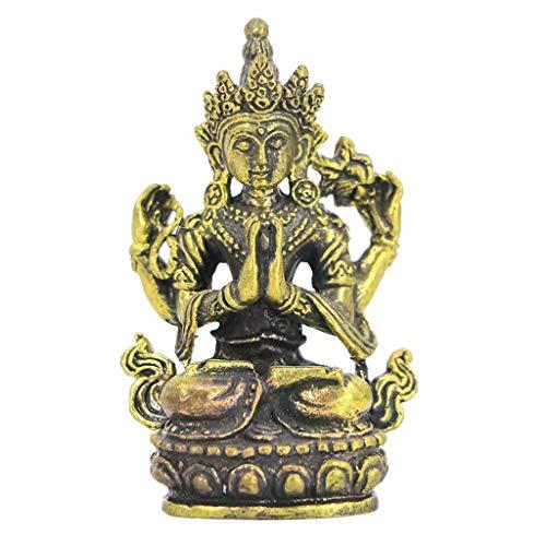 Baosity Buddha Miniature Meditation Statue Figurine Bronze Sculpture - Four-Armed Guanyin, as described