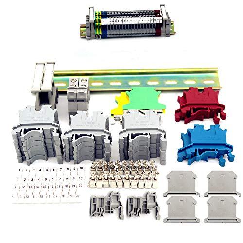 YUE QIN Kit de bloques de terminales de riel DIN Adecuado para automatización de producción de bricolaje, transformación de circuitos, etc