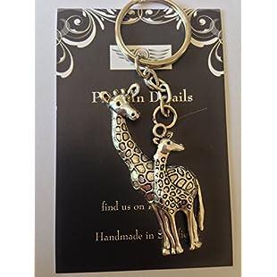 Tibetan Silver Giraffe Family ON A SPLIT RING KEYRING / BAG CHARM VERY FINE DETAILS COMES WITH RETAIL PACKAGING CH108:Videomesum