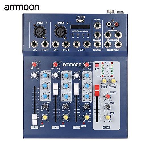 ammoon F4-USB 3 Canales Digitales de Micrófono de Línea de Audio de Mezcla Mezclador Consola con 48 V de Alimentación Phantom para la Grabación de DJ Etapa Música Karaoke Valoración