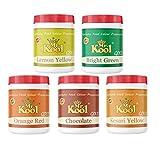 MR. KOOL Premium Food Color Powder 5 Shades (5X20 GMS) - Lemon Yellow, Orange Red, Bright Green, Kesari Yellow, Chocolate