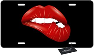 WONDERTIFY License Plate Red Lip Lip-Biting on The Black Background Decorative Car Front License Plate,Vanity Tag,Metal Car Plate,Aluminum Novelty License Plate for Men/Women/Boy/Girls Car,6 X 12Inch