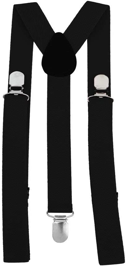 Emilykylie Unisex Women Men Y Shape 3 Clip Elastic Suspenders Strap Adjustable Braces Black