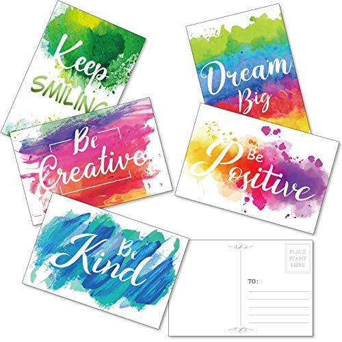 30 Pieces Inspirational Encouragement Greeting Postcards, Abstract Colorful Watercolor Paint Splash Motivational Greeting Cards Blank Note Cards for Office Classroom Teaching Supplies