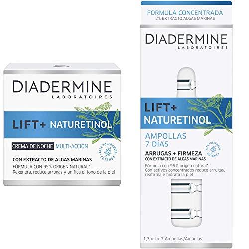 Diadermine - Pack Crema de noche Naturetinol 50ml + Ampollas Naturetiniol 7 días - Reduce arrugas, reafirma, ilumina y unifica el tono de la piel