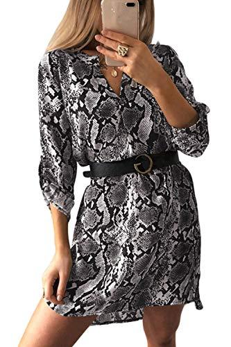 Damen Shirt Kleider Sommer Casual Floral V-Ausschnitt Langarm Aline Party Club Minikleid Schwarz M