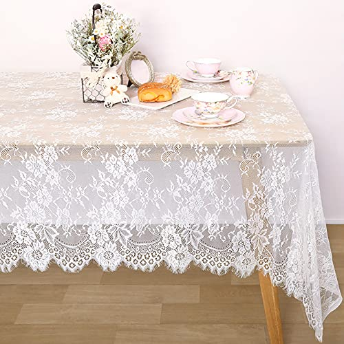 Lace Tablecloth White Table Cloth Wedding Decorations for Reception 60 x 120 inch Rustic Lace Fabric Tea Party Bridal Shower Decorations
