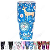 Jormungand Tumbler 30oz Stainless Steel Vacuum Insulated Travel Mug with Lid of Straw Friendly Double Wall Coffee Cup Deer Blue