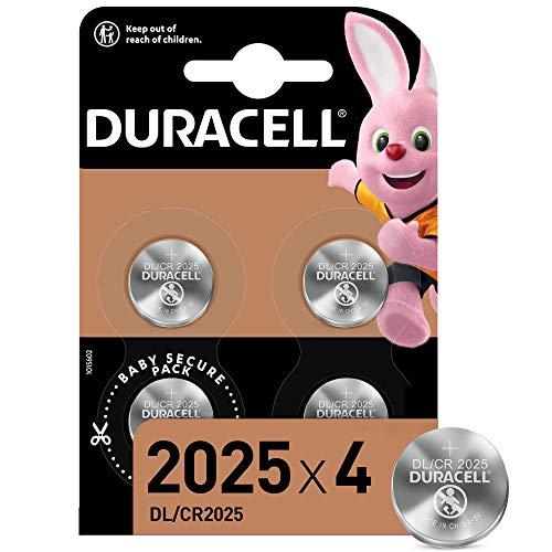 Duracell DL2025/CR2025 Batteria Bottone al Litio 3V, Confezione da 4, con Tecnologia Baby Secure per l'Uso su Chiavi con Sensore Magnetico, Bilance, Elementi Indossabili