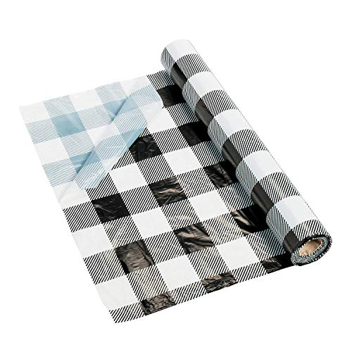Black And White Buffalo Plaid Table Roll (54' x 108')
