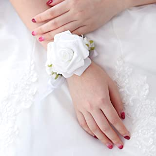 Barode Bridal Wrist Corsage Rose Hydrangea Wrist Flower Prom Bracelet for Wedding (White)
