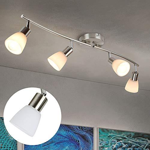 Modern LED Deckenleuchte mit 4 Flammig E14, Deckenlampe Wohnzimmer Warmweiß Schwenkbar Küche, 4 * 4W, 1280LM; 3000k Helles Deckenstrahler Glas für Schlafzimmer Esszimmer Kinderzimmer Büro