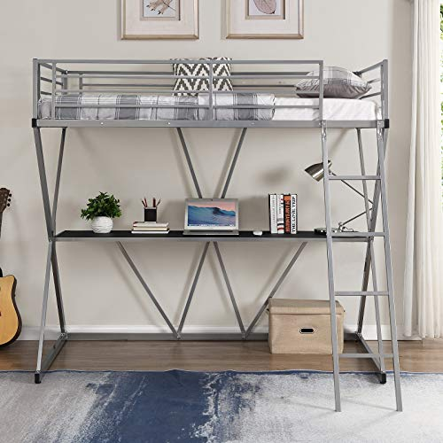Danxee X-Shaped Metal Bunk Bed with Desk Twin Loft Beds with Desk Sturdy Metal Frame with Ladder and Safety Rails (Silver)