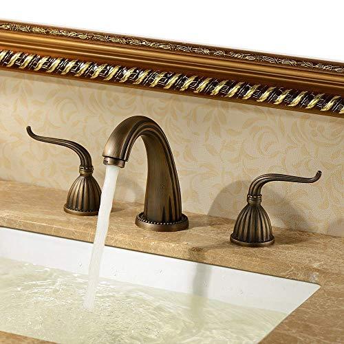 Fácil de Instalar Grifo Mezclador de Agua fría y Caliente Lavabo de Cobre Antiguo Grifo de Tres Piezas Grifo Dividido de Tres Orificios