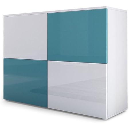 Vladon Commode Buffet Rova, Corps en Blanc Mat/Portes en Blanc Haute Brillance et Turquoise Haute Brillance