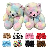 Teddy Bear Slippers For Women, Rosyclo Womens Faux Fur Plush Super Soft Cute Funny Indoor House Slides, Fuzzy Winter Warm Anti-Slip Soft Fluffy Home Bedroom Cartoon furry Shoes (SH-BSB-001)