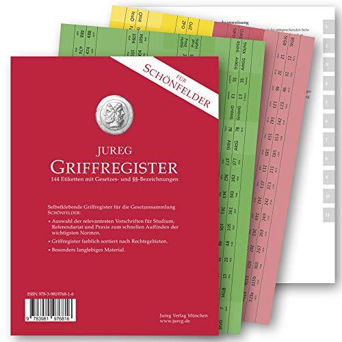 Griffregister für SCHÖNFELDER   selbstklebende Register mit Gesetzes- und §§-Bezeichnungen   2021