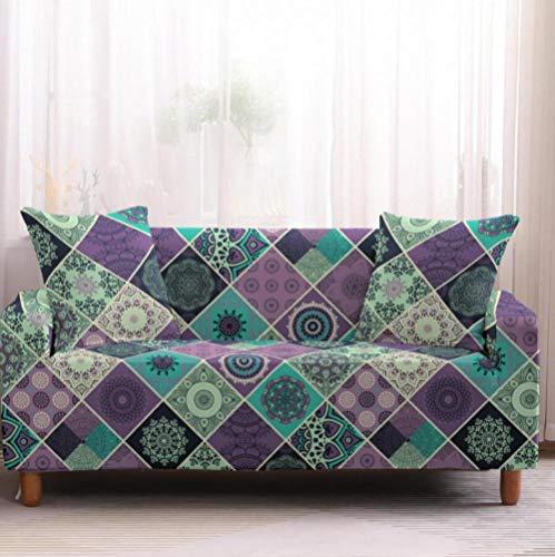 Funda de sofá de 3 Plazas Funda Elástica para Sofá Poliéster Suave Sofá Funda sofá Antideslizante Protector Cubierta de Muebles Elástica Patrón Floral Morado Funda de sofá