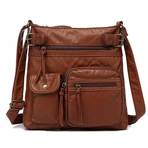Scarleton Multi Pocket Crossbody Bag for Women, Purses for women, Shoulder Bag, Ultra Soft Washed Vegan Leather Shoulder Purse, H1833