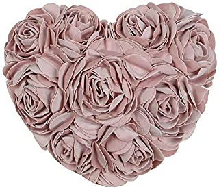 JWH 3D Handmade Rose Flowers Accent Pillow Decorative Cotton Velvet Heart Shape Cushion Home Couch Bed Living Room Office Chair Car Decor Travel Lover Girl Gift 13 x 16 Inch Rose Gold