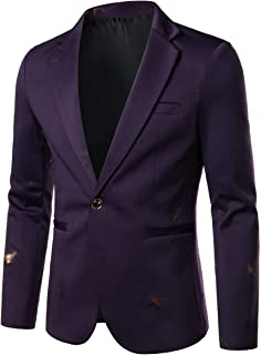 FSSE Mens Regular Fit Casual Suit Business Printed Dress Blazer Jacket Sport Coat