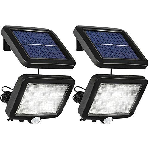 Solarlampen für Außen mit Bewegungsmelder, Boomersun 56 LED Solarleuchten Teilbare Wandlampe, IP65 Wasserdichte, 120° Superhelle Solarleuchten für Außen mit 16.5ft Kabel (2 Stk)