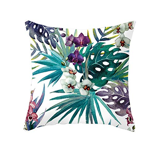 Z&HA Tropical Leaves Decorations Pillow Covers 18 X 18Inch with Tropical Palm Monstera Leaves Print for Summer Green Decor, a