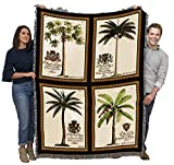 Royal Colonial Palms - Cotton Woven Blanket Throw - Made in The USA (72x54)