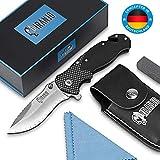 Piranjo Klappmesser – Extra scharfes Messer Set mit Tasche, Schleifstein & Tuch - Taschenmesser mit D2 Edelstahlklinge - Mit Glasbrecher-Funktion