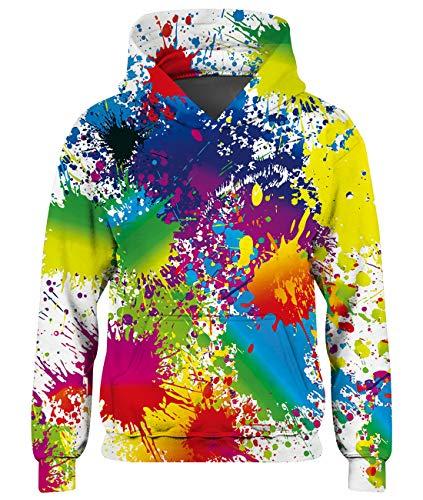 Spreadhoodie Teenagers Fleece Pullover 3D Malerei Kinder Hoodie Sweatshirt Lustige Graffiti Langarm Animal Hooded Pullover Kapuzenpullover 5-6 Jahre
