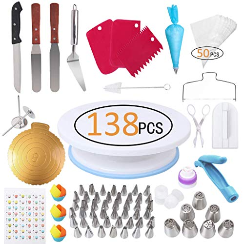 138 Pcs Cake Decorating Supplies Kit, Inkec Baking Supply with Cake Turntable, Icing Tips, Couplers, Piping Bags, Silicone Cupcake & Item Bonus for Birthday Wedding Cake Pastry