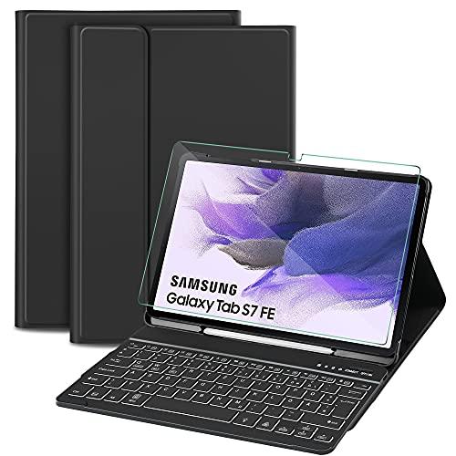 Sross-TEC Tastatur Hülle Kompatibel mit Samsung Galaxy Tab S7 FE & Tab S7+/Tab S7 Plus, QWERTZ Kabellose Beleuchtete Bluetooth Samsung Galaxy Tab S7 FE 12.4 Zoll 2021 Tastatur mit Panzerglas,Schwarz