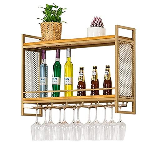 Estanterías de vino colgando de pared montado vino champagne cálizas de vidrio stemware rack porta metal y madera, titulares de vinos para botellas de vino y exhibición almacenamiento de gafas, oro