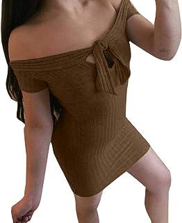 71901eb9e6 Uscharm Flat Shoulder Dress Women s Ladies Solid Short Sleeve Off Shoulder  Mini Key Hole Summer Dress