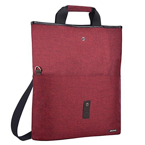 MOSISO Funda Protectora Compatible con 13.3 Pulgadas MacBook Ultrabook Notebook, Versátil Convertible Trabajo Viajes Compras Duffel Maletín de Escuela Bolso de Hombro Bandolera de Crossbody, Vino Rojo
