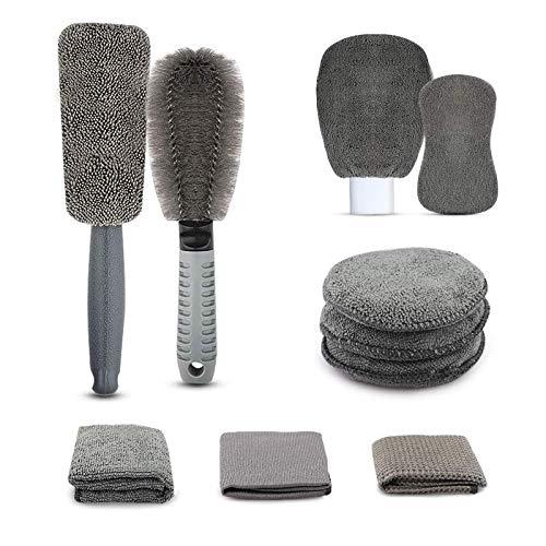 Microfibra Juego de Lavado para Autos, Kit de Limpieza de Coche, Microfibra Secado Toalla, Cepillo para Llantas, Limpiador de Parabrisas, Guante de Lavado y Esponja Auto Lavado (9 Piezas)