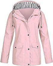 OVERMAL-AU Women's Hooded Winter Lightweight Solid Rain Jacket Outdoor Plus Waterproof Hooded Raincoat Windproof Coat Outwear