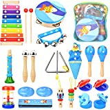Wesimplelife Toddlers Wooden Musical Instruments Toys Set, Percussion Instrument Early Education Toys for Boys and Girls with Storage Backpack