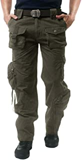 CRYSULLY Men's Fall Cotton Multi-Pockets Work Pants Tactical Outdoor Military Army Cargo Pants (No Belt)