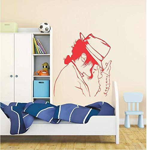 Cool Michael Jackson Patroon met zijn hoed De Koning van Pop Art Mural Ontworpen Vinyl Home Decor 50X70Cm