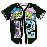 HOP FASHION Womens Bel Air Baseball Jersey Short Sleeve Number 12 Print Hip Hop Tees Shirts HOPM007-39-XXL