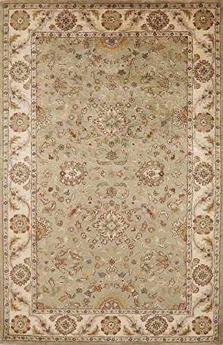 Green & Ivory Floral Agra Oriental Area Rug Hand-Tufted Wool Traditional Home Décor Carpet 6x9 (8' 6'' x 5' 6'')