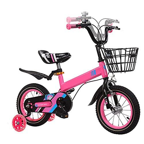 HUAQINEI Bicicleta para niños y niñas de 18 Pulgadas con Rueda de Destello para Bicicletas de Equilibrio para niños de 2 a 9 años, Rosa, 12
