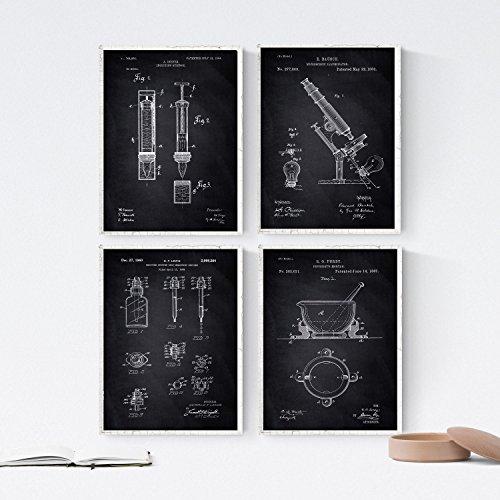 Nacnic Schwarz Apotheke Patent Poster 4-er Set. Vintage Stil Wanddekoration Abbildung von Medizingeräte und Gesundheit. Verschiedene geometrische Alte Erfindungen Bilder ohne Rahmen. Größe A4.