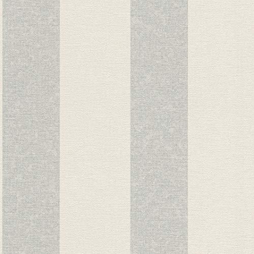 rasch Tapete 449648 aus der Kollektion Florentine II – Vliestapete in Beige mit hellblauen Streifen – 10,05m x 53cm (L x B)