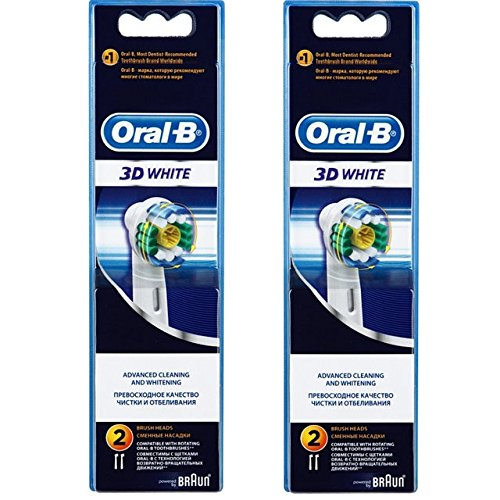 Oral-B Braun 3D White Electric Toothbrush Replacement Head - 4 Refill Brushes