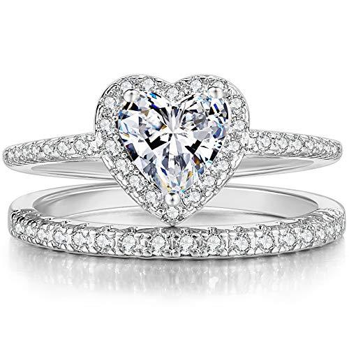 Rhodium Plated Heart Shaped Engagement Eternity Bridal Anniversary Promise Wedding Band Ring Set...