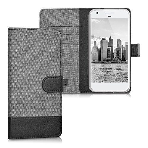 kwmobile Wallet Case for Google Pixel - Fabric and PU Leather Flip Cover with Card Slots and Stand - Grey/Black