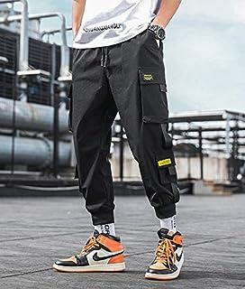 haochenli188 Monos De Hombre Harajuku Retro Overoles CóModos Pantalones De Jogging con CordóN para Hombres Pantalones Negr...
