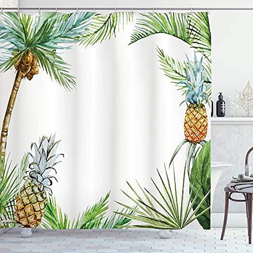 ASDAH ananas douchegordijn aquarel tropische eiland stijl rand print exotische fruit palmbomen en bladeren doek stof badkamer decor set met haken Fern groen 66 * 72in
